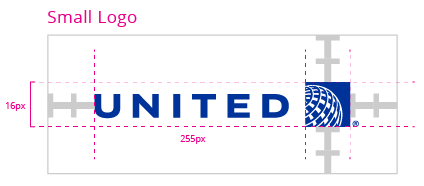 United Airlnes logo, with specs